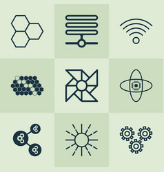 learning icons set with computer brain wi-fi vector image