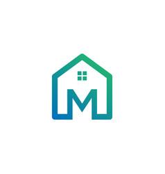 Letter m architect home construction creative vector