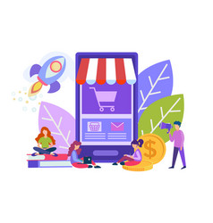Little people make purchases with help of vector