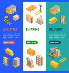 logistic delivery service banner vecrtical set vector image