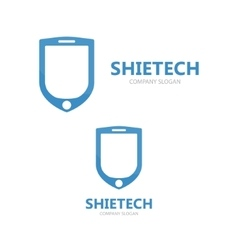 logo combination of a shield and phone vector image