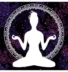 Meditation in lotus position of yoga vector