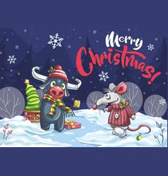Merry christmas cartoon mouse bull in night vector
