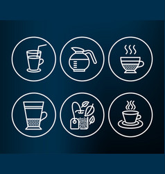Mint bag cocktail and double latte icons vector