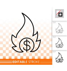 money fire simple black line icon vector image