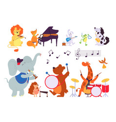 music animals musician play instruments forest vector image