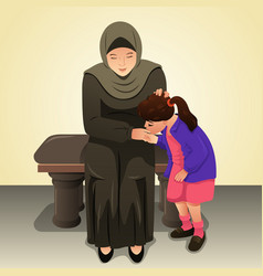 Muslim girl kissing her mother hand vector