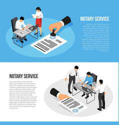 notary service isometric banners vector image