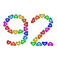 number 92 ninety two of colorful hearts on white vector image