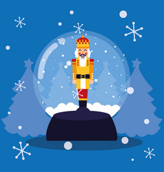Nutcracker king toy in crystal ball vector