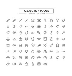 objects tools line icon set vector image