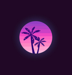 Palm trees on a sunset background in the style of vector