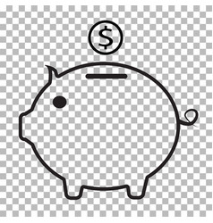 piggy bank icon on transparent background flat vector image