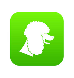 Poodle dog icon digital green vector