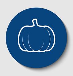 pumpkin sign white contour icon in dark vector image