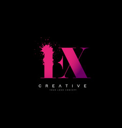 Purple pink fx f x letter logo design with ink vector