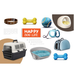 Realistic dog items composition vector
