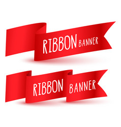 red ribbon flag banners set vector image