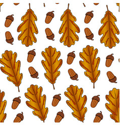 seamless pattern from oak leaves and acorn on a vector image