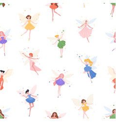 seamless pattern with cute fairies on white vector image