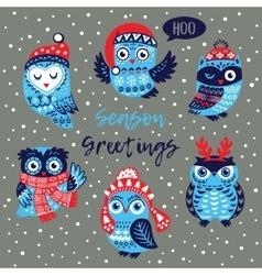 Season Greetings card with owls vector image