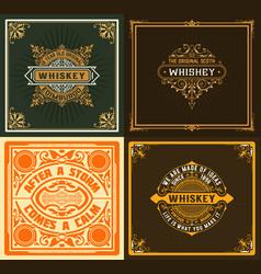 set 4 vintage labels western style vector image
