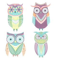 Set cute colorful owls vector
