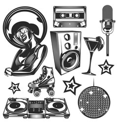 set disco elements vector image