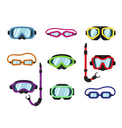 set goggles dive or scuba mask vector image