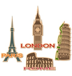 Set of cities symbols vector image