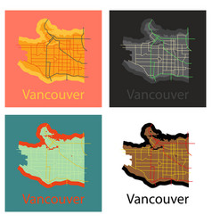 Set of vancouver city plan detailed flat map vector
