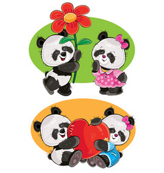 Set with a couple of panda bears in love vector