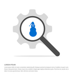 snowman icon search glass with gear symbol icon vector image