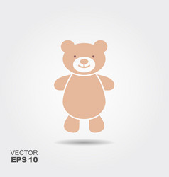 soft toy teddy bear flat icon vector image