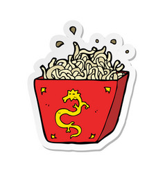 Sticker of a cartoon noodle box vector