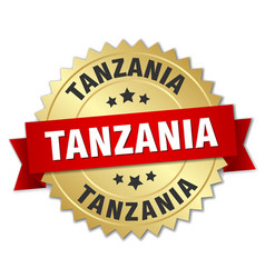 Tanzania round golden badge with red ribbon vector
