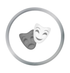 Theater masks icon in cartoon style isolated on vector