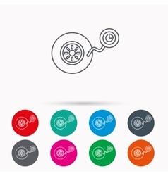 Wheel pressure icon Tire service sign vector image