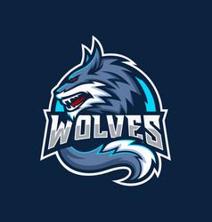 Wild wolf esport mascot logo design vector