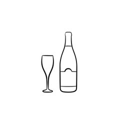 wine bottle hand drawn sketch icon vector image