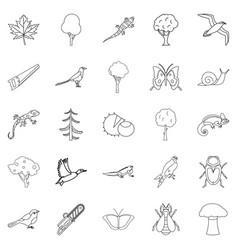 arboraceous icons set outline style vector image