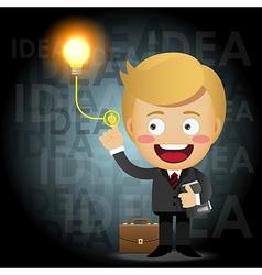 businessman turning on idea light bulb vector image vector image