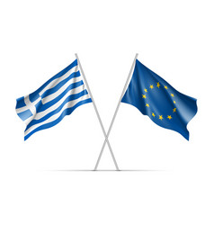 greece and european union waving flags vector image vector image