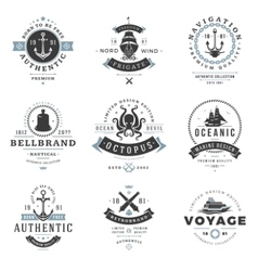 Nautical Logos Templates Set vector image vector image