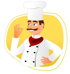 Smiling chef with mustache vector image vector image