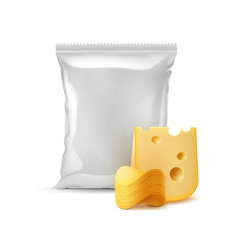 stack of potato chips with cheese and sealed bag vector image vector image