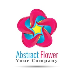 Yellow blue pink leafs logo design four leafs vector