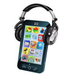cell phone wearing headphones vector image