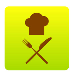 chef with knife and fork sign brown icon vector image
