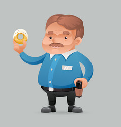 Fat policeman security guard with donut icon retro vector